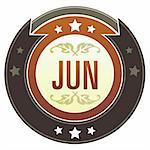 June month calendar icon on round red and brown imperial vector button with star accents suitable for use on website, in print and promotional materials, and for advertising. Stock Photo - Royalty-Free, Artist: lhfgraphics                   , Code: 400-04635028