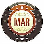 March month calendar icon on round red and brown imperial vector button with star accents suitable for use on website, in print and promotional materials, and for advertising. Stock Photo - Royalty-Free, Artist: lhfgraphics                   , Code: 400-04635029