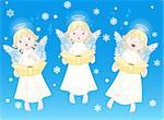 Three cute cartoon angels singing Christmas carols. Background is separate layer Stock Photo - Royalty-Free, Artist: Dazdraperma                   , Code: 400-04635326