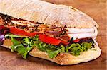 panini sandwich with lettuce tomato and turkey Stock Photo - Royalty-Free, Artist: malino                        , Code: 400-04638717