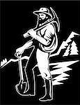 illustration of a Coal miner with pick axe