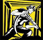 illustration of a Coal miner working with pneumatic drill