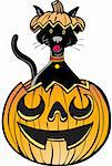 Cartoon cat with head popping out of pumpkin - glow style Stock Photo - Royalty-Free, Artist: cteconsulting                 , Code: 400-04642568