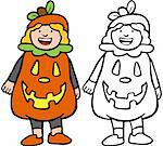 Cartoon image of a person dressed in a pumpkin costume - color and black/white versions. Stock Photo - Royalty-Free, Artist: cteconsulting                 , Code: 400-04642569
