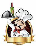 Cheerful chef serving dinner at a restaurant - room for your text Stock Photo - Royalty-Free, Artist: ThomasAmby                    , Code: 400-04642735