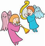 Set of 2 Angels playing horn and harp. Stock Photo - Royalty-Free, Artist: cteconsulting                 , Code: 400-04642786
