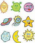 Collection of nine cartoon astronomy icons. Stock Photo - Royalty-Free, Artist: cteconsulting                 , Code: 400-04642846