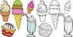 Cartoon image of a variety of different types of ice cream treats - both color and black / white versions.