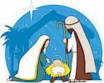 A nativity scene with the star of Bethlehem in the background Stock Photo - Royalty-Free, Artist: mkoudis                       , Code: 400-04644047