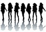 Vector drawing slim young girl. Silhouettes on white background