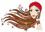 Woman with autumn leaves in her hair, vector