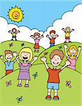 Children with hands raised welcome others. Stock Photo - Royalty-Free, Artist: cteconsulting                 , Code: 400-04647881