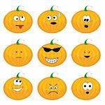 Set of nine cartoon pumpkins. Vector illustration.
