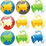 vector editable colored globes Stock Photo - Royalty-Free, Artist: pilgrimartworks               , Code: 400-04649284