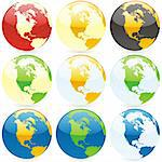 vector editable colored globes Stock Photo - Royalty-Free, Artist: pilgrimartworks               , Code: 400-04649285