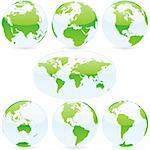 vector editable colored world map and globes Stock Photo - Royalty-Free, Artist: pilgrimartworks               , Code: 400-04649287