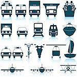 Transportation set of different vector web icons Stock Photo - Royalty-Free, Artist: angelp                        , Code: 400-04649350