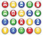Transportation set of different vector web icons Stock Photo - Royalty-Free, Artist: angelp                        , Code: 400-04650145