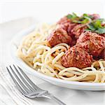 spaghetti and meatballs Stock Photo - Royalty-Free, Artist: hojo                          , Code: 400-04650350
