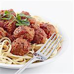 spaghetti and meat balls Stock Photo - Royalty-Free, Artist: hojo                          , Code: 400-04650351
