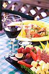 Glass of wine with dinner and appetizer Stock Photo - Royalty-Free, Artist: karimala                      , Code: 400-04651097