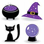 Halloween set with witch's stuff. Vector illustration. Stock Photo - Royalty-Free, Artist: Lilia                         , Code: 400-04651475