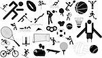 sports icon character set in different positions and objects Stock Photo - Royalty-Free, Artist: joingate                      , Code: 400-04656845