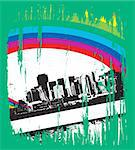 abstract urban grunge city background with rainbow wave ,vector illustration