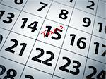 Taxes written in red on the 15th day of a calendar. Stock Photo - Royalty-Free, Artist: AntonPrado                    , Code: 400-04659845