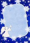 Christmas blue background with angel and snowflakes Stock Photo - Royalty-Free, Artist: frenta                        , Code: 400-04660049