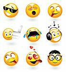 Set of nine smilies with different expressions Stock Photo - Royalty-Free, Artist: ThomasAmby                    , Code: 400-04660331
