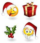 Set of vector christmas emoticons and elements Stock Photo - Royalty-Free, Artist: ThomasAmby                    , Code: 400-04660333