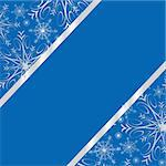Dark blue winter frame with silver snowflakes an space for your text. Vector illustration.
