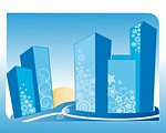 Grunge city vector illustration, blue