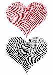 heart shapes with fingerprint texture, vector