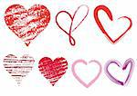 set of scribble hearts with grungy texture, vector
