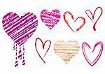 set of doodle hearts with grungy texture, vector