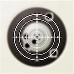 Target with gun shot holes and hunters sporting sight Stock Photo - Royalty-Free, Artist: Nicemonkey                    , Code: 400-04668624