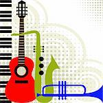 Abstract background, colored music instruments, full scalable vector graphic included Eps v8 and 300 dpi JPG, change the colors as you like. Stock Photo - Royalty-Free, Artist: ElaKwasniewski                , Code: 400-04671010