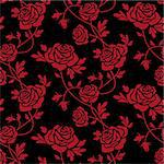 Romantic red roses at black background, seamless pattern. Full scalable vector graphic, change the colors as you like and 300 dpi JPG.