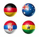 3D soccer balls with group D teams flags, world football cup 2010. isolated on white Stock Photo - Royalty-Free, Artist: daboost                       , Code: 400-04672975