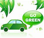 Go Green Ecology Car. Editable Vector Illustration.
