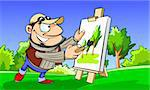 Colourful illustration of artist painting landscape on a canvas. Stock Photo - Royalty-Free, Artist: Regisser_com                  , Code: 400-04676721