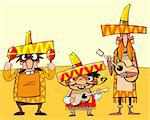 illustration of three amusing mexicans with guitars and maracas