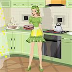 girl with baking in vector format Stock Photo - Royalty-Free, Artist: orensila                      , Code: 400-04678530