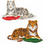 Bengal and amur tiger in vector format Stock Photo - Royalty-Free, Artist: orensila                      , Code: 400-04678535