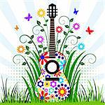 Guitar with flower design in the meadow with flying butterflies, musical instrument background, full scalable vector graphic included Eps v8 and 300 dpi JPG Stock Photo - Royalty-Free, Artist: ElaKwasniewski                , Code: 400-04680186