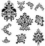 Baroque Floral Vector Set.  Isolated shapes, grouped for easy editing. Stock Photo - Royalty-Free, Artist: eyestalk                      , Code: 400-04680859