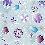 Seamless gentle violet and grey floral pattern with flowers and  butterflies (vector) Stock Photo - Royalty-Free, Artist: OlgaDrozd                     , Code: 400-04687464