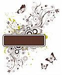 Floral frame with butterfly, element for design, vector illustration Stock Photo - Royalty-Free, Artist: TAlex                         , Code: 400-04687849